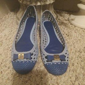 EUC Tory Burch Carlyle Blue Ballerina Flats